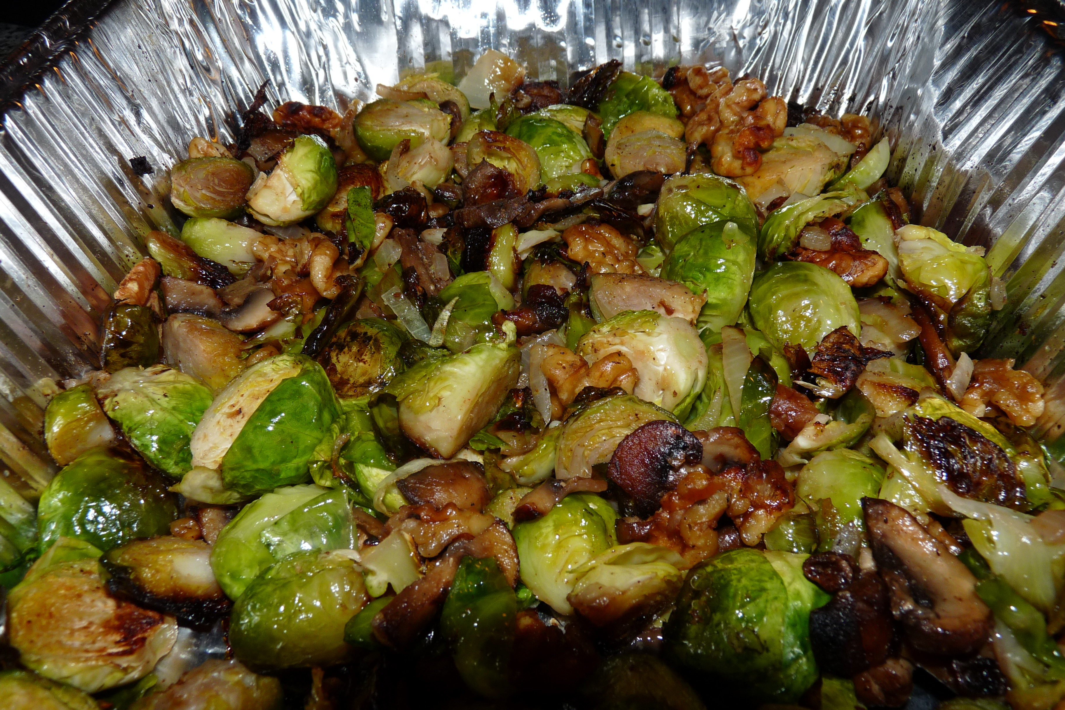 Roasted Brussels Sprouts with Buttered Walnuts